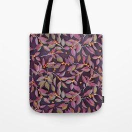 Leaves + Berries in Olive, Plum & Burnt Orange Tote Bag