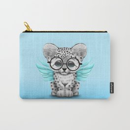 Snow Leopard Cub Fairy Wearing Glasses on Blue Carry-All Pouch