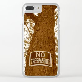 Sepia No Trespassing Clear iPhone Case