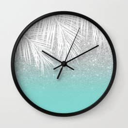 Modern tropical white palm tree silver glitter ombre on robbin egg blue turquoise Wall Clock