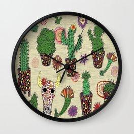 mosaic cactus plant pots Wall Clock