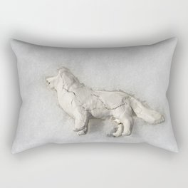 Clay Dog in the Snow Rectangular Pillow