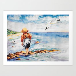 Watercolor Boy with Seagulls Art Print