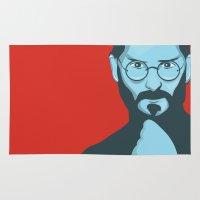 steve jobs Area & Throw Rugs featuring Steve Jobs Portrait by KaytiDesigns