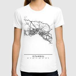 ISTANBUL TURKEY BLACK CITY STREET MAP ART T-shirt