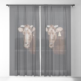 Gold Earring - Cow portrait Sheer Curtain