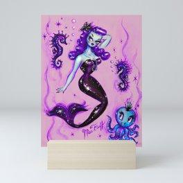 Purple Mermaid with Octopus and Sea Horses Mini Art Print