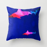 sharks Throw Pillows featuring Sharks by Cullen Rawlins