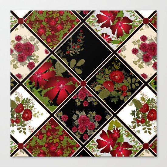 Floral folk patchwork. Ethnic Canvas Print
