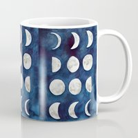 moon phases Mugs featuring Moon phases by Bridget Davidson