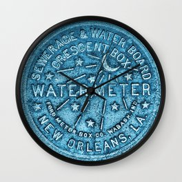 Blue Water Meter New Orleans Sewer Ford Louisiana Wall Clock