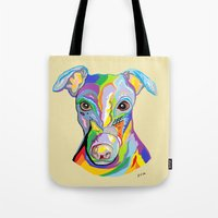 greyhound Tote Bags featuring Greyhound by EloiseArt