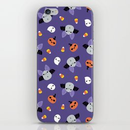 Purple Kawaii Halloween Bat Pattern iPhone Skin