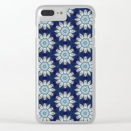 Daisies over Blue Geometric Pattern Design Clear iPhone Case