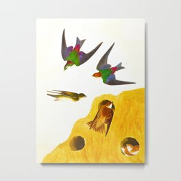 Bank Swallow and Violet-green Swallow John James Audubon Scientific Vintage Illustrations Of America Metal Print