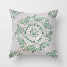Spring Rain Mandala Throw Pillow