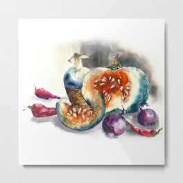 Watercolor harvest with vegetables, Thanksgiving Day Metal Print