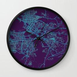 Kabul Neon City Map, Kabul Minimalist City Map Art Print Wall Clock