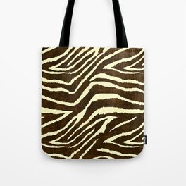 Animal Print Zebra in Winter Brown and Beige Tote Bag