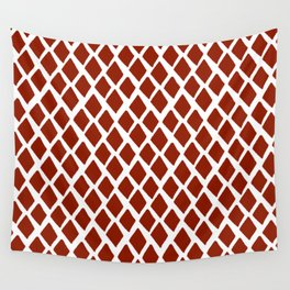 Rhombus Red And White Wall Tapestry