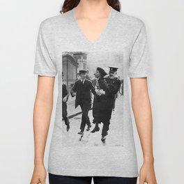 Suffragette Emmeline Pankhurst Being Arrested (May 1914) Unisex V-Neck