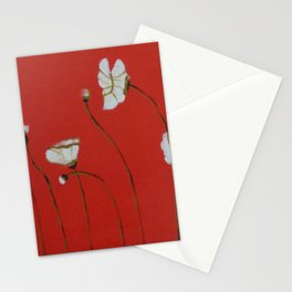 Asian White Poppies Stationery Cards