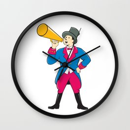 Circus Ringmaster Bullhorn Standing Cartoon Wall Clock