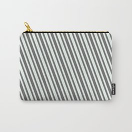 Dim Grey & Mint Cream Colored Stripes/Lines Pattern Carry-All Pouch
