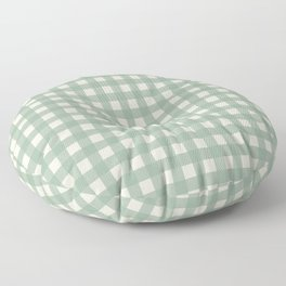 Buffalo Checks Plaid in Sage Green on Cream Floor Pillow