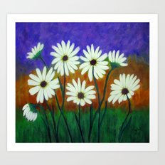 White daisies-Abstract Art Print