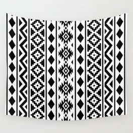 Aztec Essence Ptn III Black on White Wall Tapestry