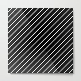 Hot 80s Style Diagonal Black and White Geometric Pattern Metal Print