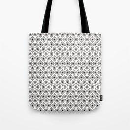 Black/White Japanese Hemp Kimono Pattern Tote Bag