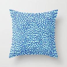 Blue Glitter Leopard Print Throw Pillow