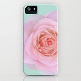 rose by another name: pink ghost on eau de nil iPhone Case