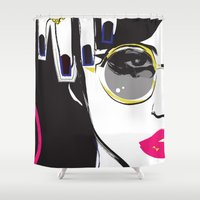 depeche mode Shower Curtains featuring Mode by shutupjade