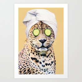 Leopard in a Towel Art Print