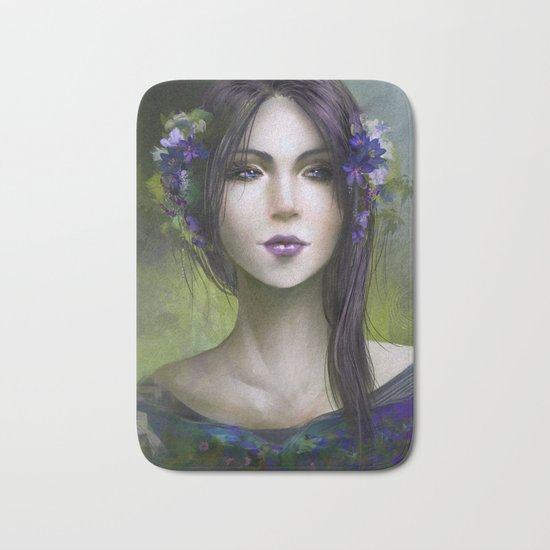 Viola - Girl with purple flowers in her hair Bath Mat