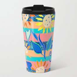 zakiaz cobalt flower stripe Travel Mug
