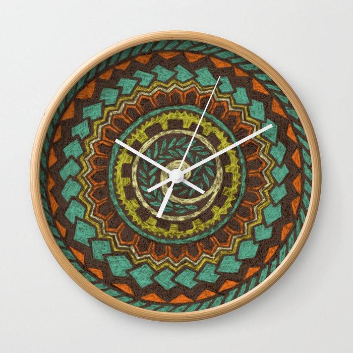 Retro Colorful 60s 70s Polynesian Mandala Tattoo Vintage Orange Blue Wall Clock