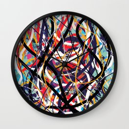 Abstract expressionist art in red blue and black Wall Clock