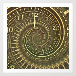 Bronze Metallic Ornate Spiral Time Machine Art Print