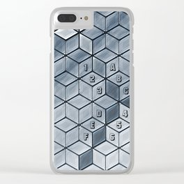 Soft gradient cubes in grey tones Clear iPhone Case