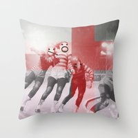 roller derby Throw Pillows featuring Punchtuation Roller Derby by Vin Zzep