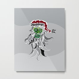Zombie (Santa) Claus Head Metal Print