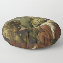 Charles Picque - A Saint Bernard Dog Comes to the Aid of a lost Woman with a sick Child Floor Pillow
