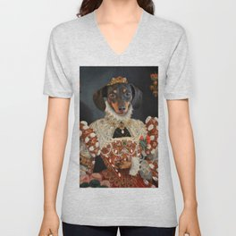 Queen Dixie - Dachshund Art Unisex V-Neck