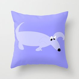 BLUE SNIFFER DOG Throw Pillow