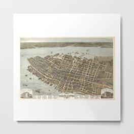 1872 Historical Bird's Eye View City Grid Map of Coastal Charleston, South Carolina  Metal Print