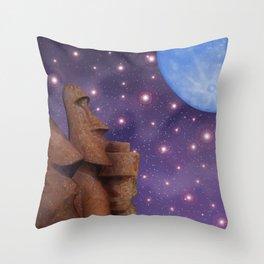 Moai & Moon in Universe Throw Pillow